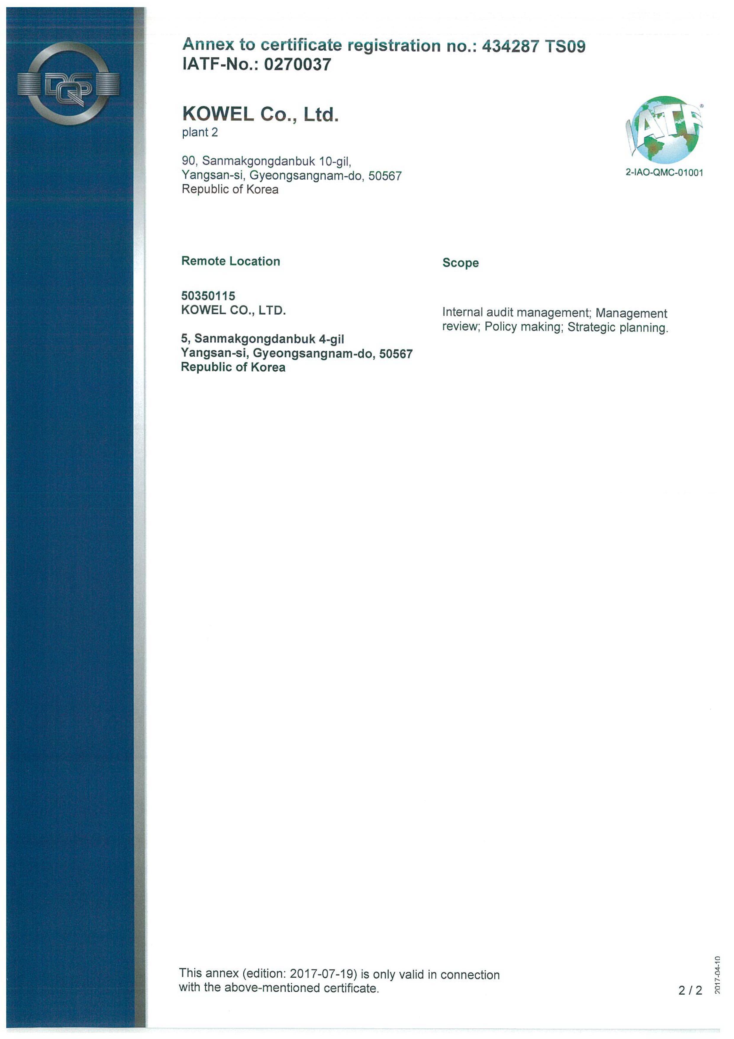 Certifications Kowel
